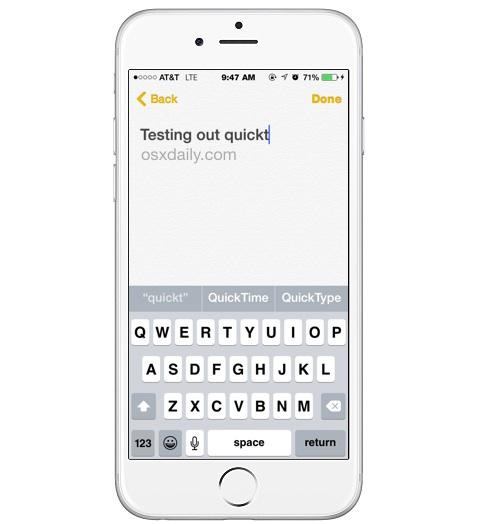 Teclado QuickType en iPhone