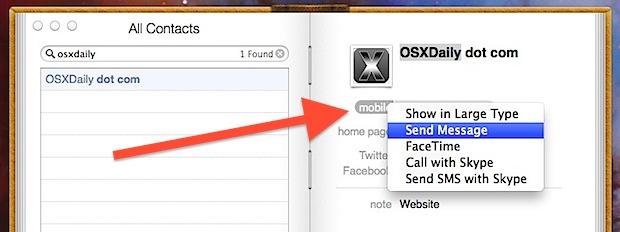 Envíe mensajes, haga llamadas telefónicas, inicie Facetime desde la aplicación Contactos en OS X.
