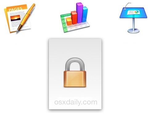 Establezca la contraseña para los archivos de iWork en Mac OS X.