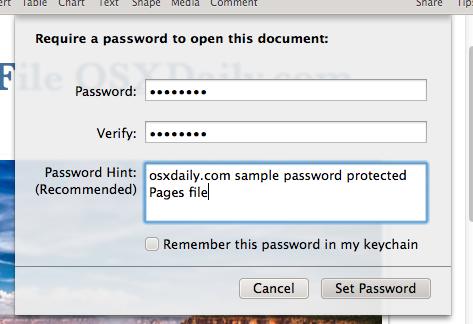 Establecer la contraseña para un archivo de iWork en Mac OS X.