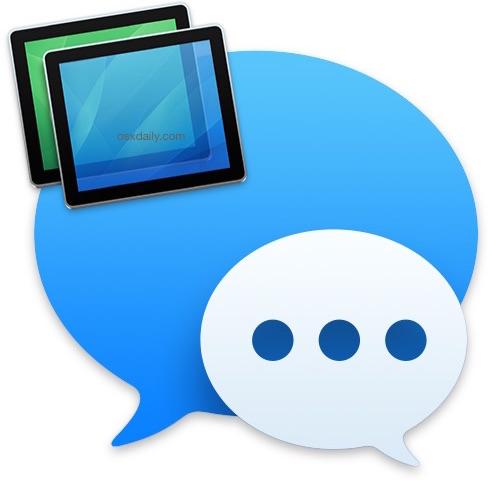 Compartir la pantalla de mensajes en Mac OS X.