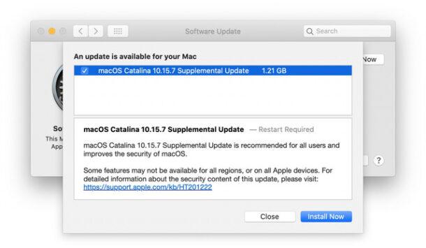 Actualización adicional de MacOS Catalina 10.15.7