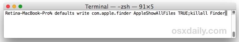 Mostrar archivos ocultos en Mac con la cadena de comando predeterminada en la Terminal