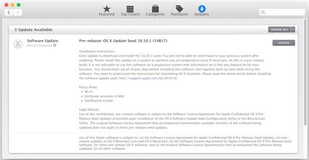 OS X 10.10.1 Actualiza las semillas 1