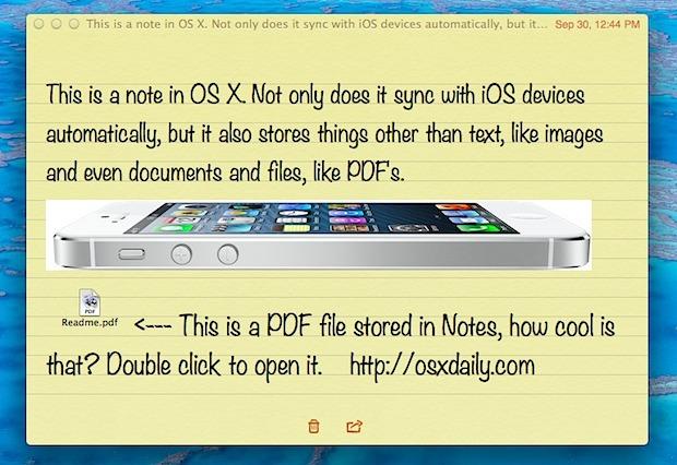 Almacene archivos, imágenes y más en la aplicación OS X Notes
