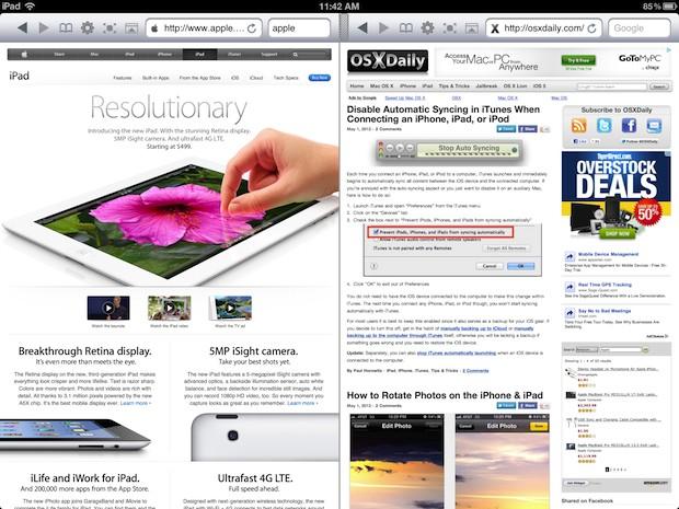 Windows con navegador dual en iPad