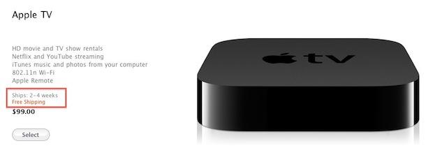 Fecha de entrega del Apple TV
