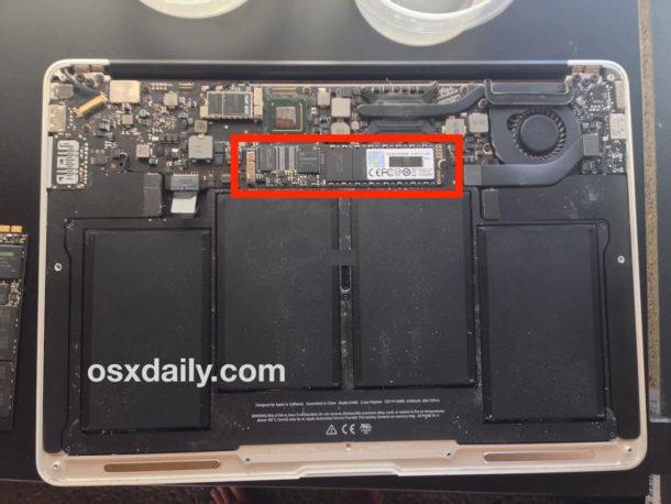 SSD reemplazado en MacBook Air instalado