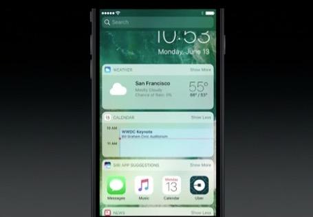 Capturas de pantalla de widgets con pantalla de bloqueo de iOS 10
