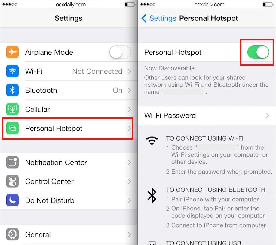 Habilitar el punto de acceso personal de iPhone