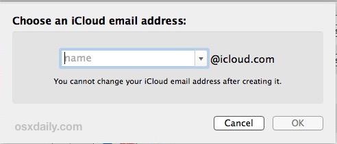 Elija su dirección de correo electrónico de iCloud