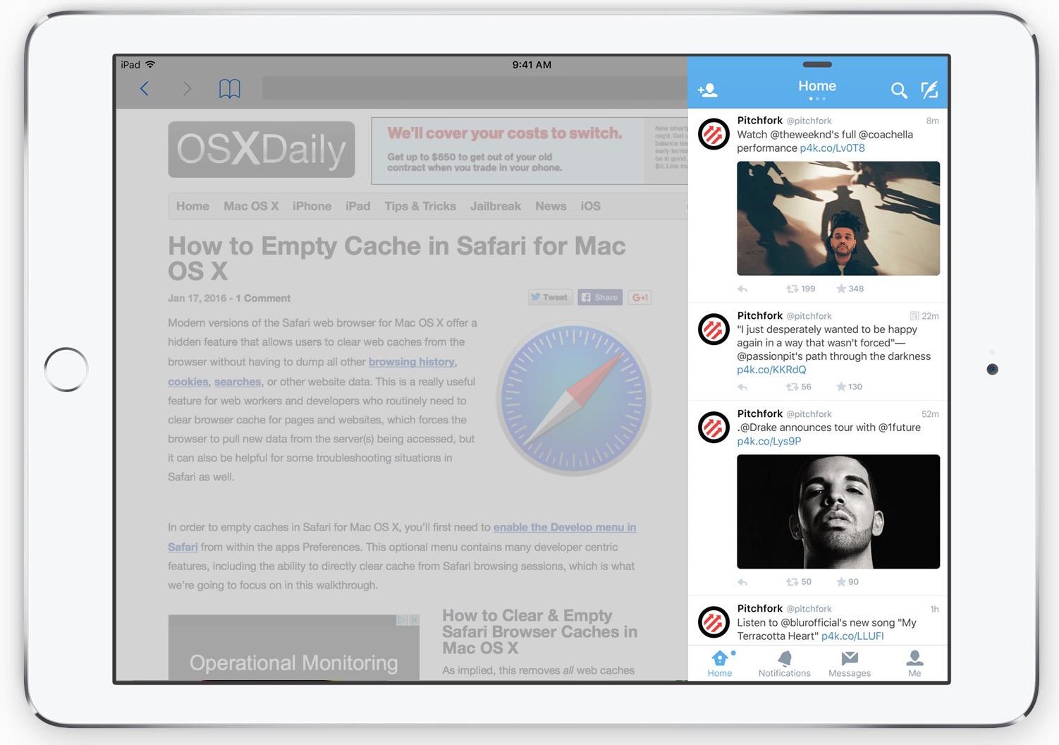 Slide Over multitarea en iPad