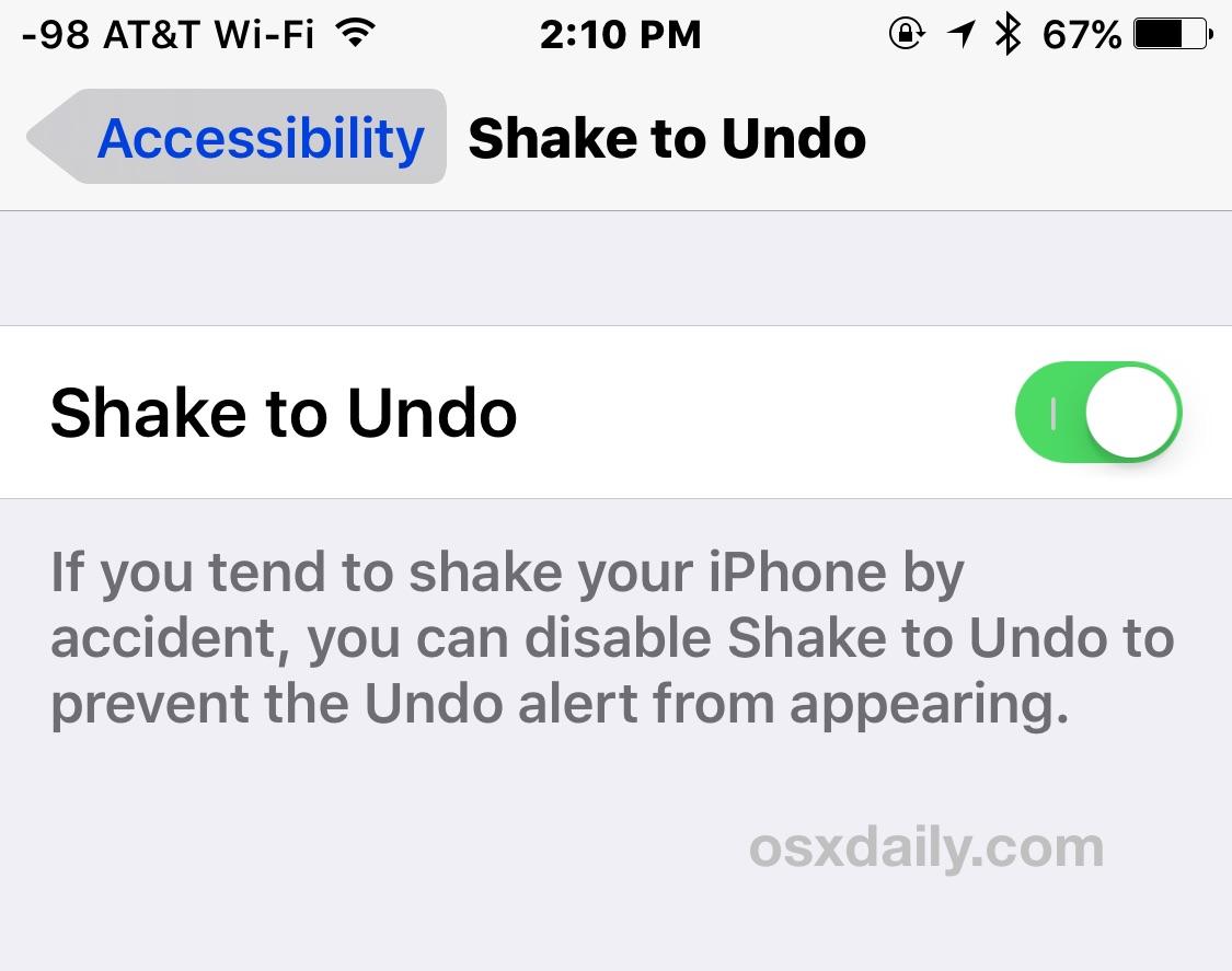 Deshabilitar o habilitar agitar para cancelar en iOS