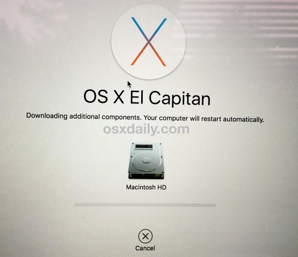 La reinstalación de OS X descarga componentes adicionales