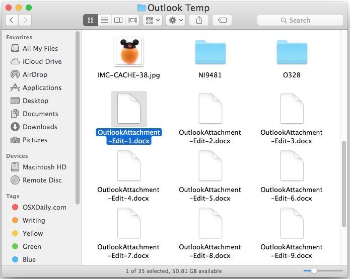 Carpeta temporal de Outlook en una Mac