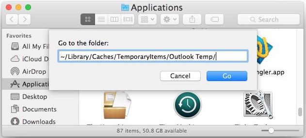 Navegue a la carpeta Temp de Outlook en su Mac