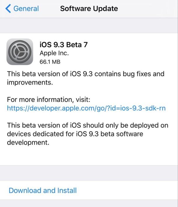 iOS 9.3 beta 7