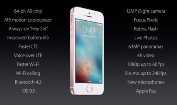 Hoja de especificaciones de IPHone SE