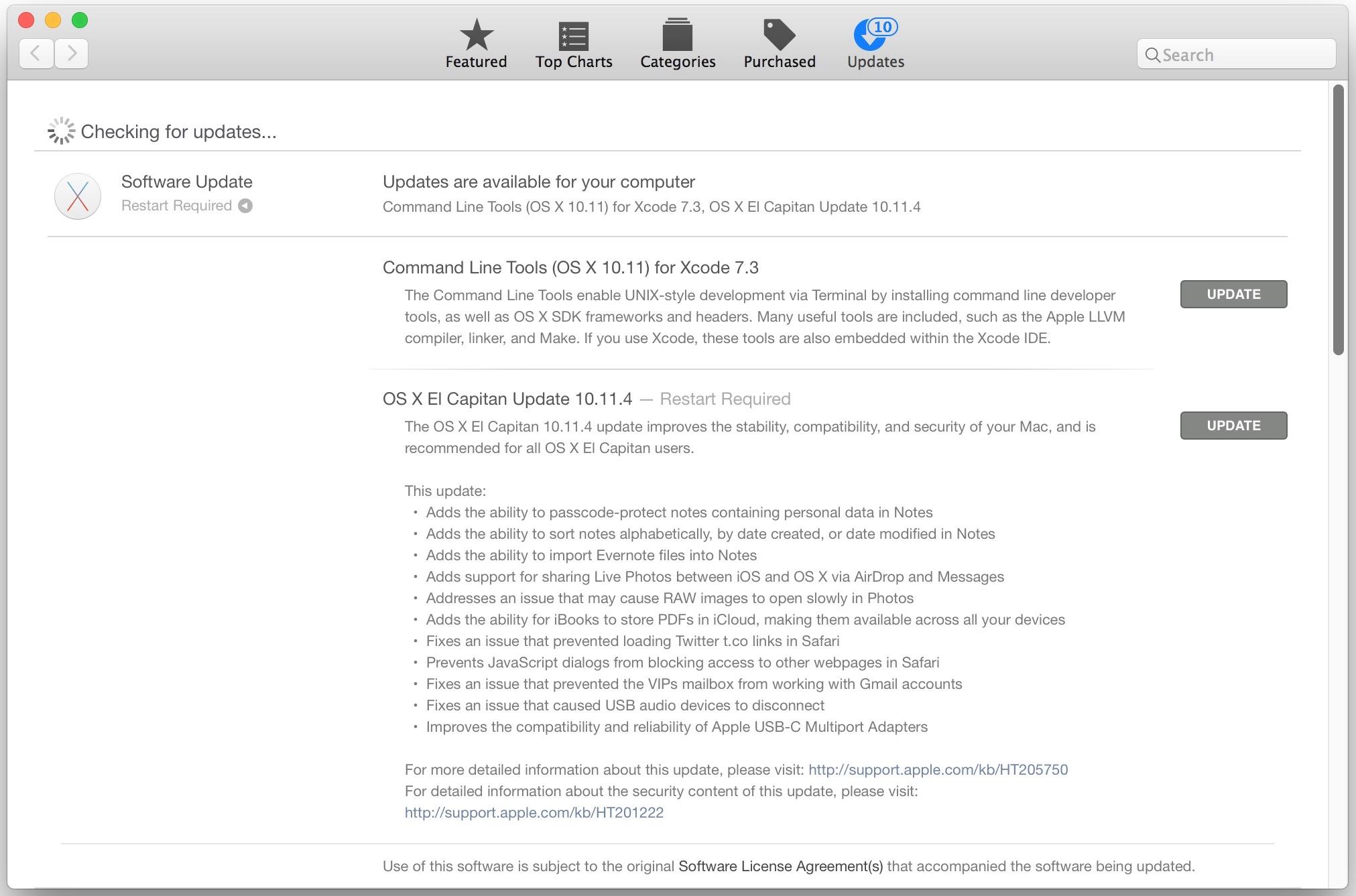 Actualización de OS X 10.11.4 para Mac