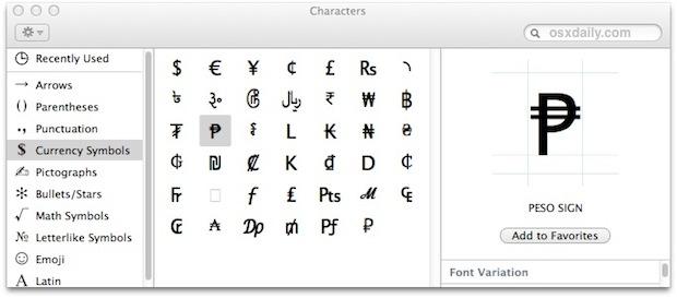 Panel de acceso y visualización de caracteres especiales en Mac OS X.