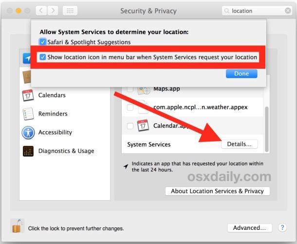 Muestra el icono del menú de uso de la ubicación en Mac OS X.