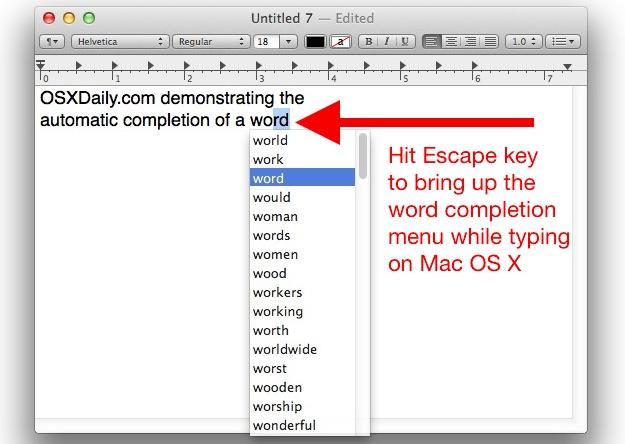 La función de completar palabras en Mac OS X es poco conocida, pero muy útil