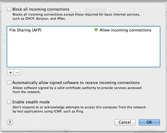 Opciones y preferencias de firewall en Mac OS X.