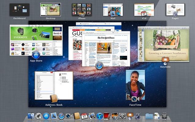 Captura de pantalla Mac OS X Lion Mission Control