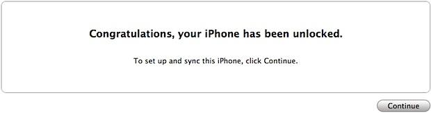 Mensaje de iPhone 4S desbloqueado en iTunes