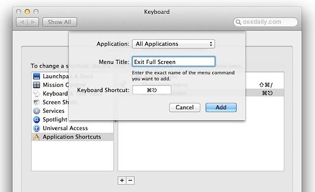 Agregue un atajo de teclado de pantalla completa a Mac OS X Lion
