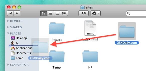 Agregue carpetas a la barra lateral del Finder en Mac OS X.