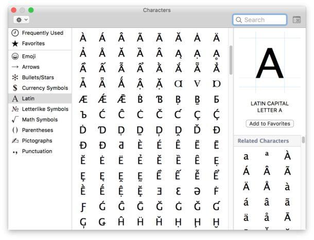 Visor de caracteres especiales para Mac