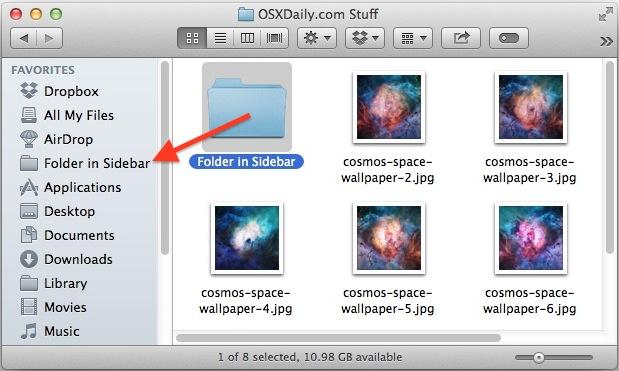 Agregue carpetas a la barra lateral de Mac OS X.