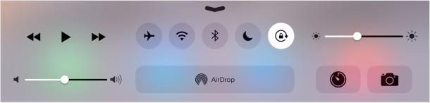 Botón de bloqueo de orientación en el Centro de control de iOS para iPad