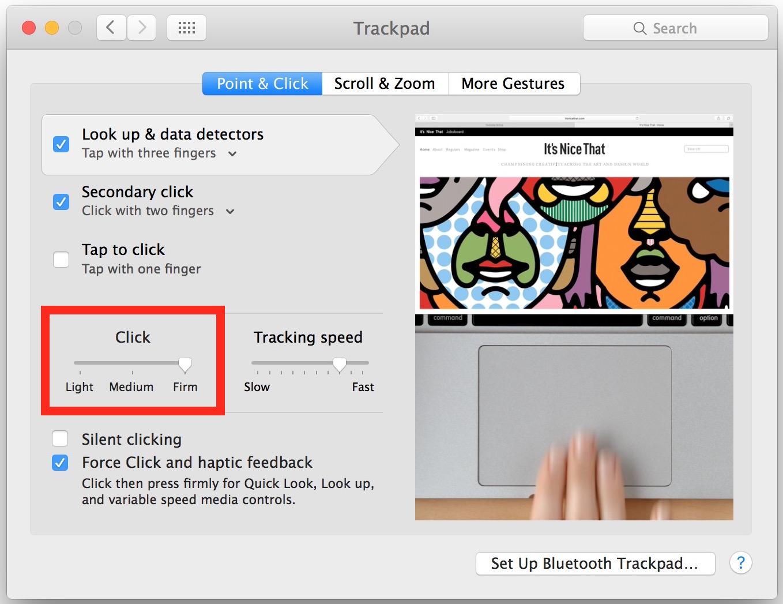 Ajustar la fuerza Haga clic en la presión táctil en el trackpad de Mac