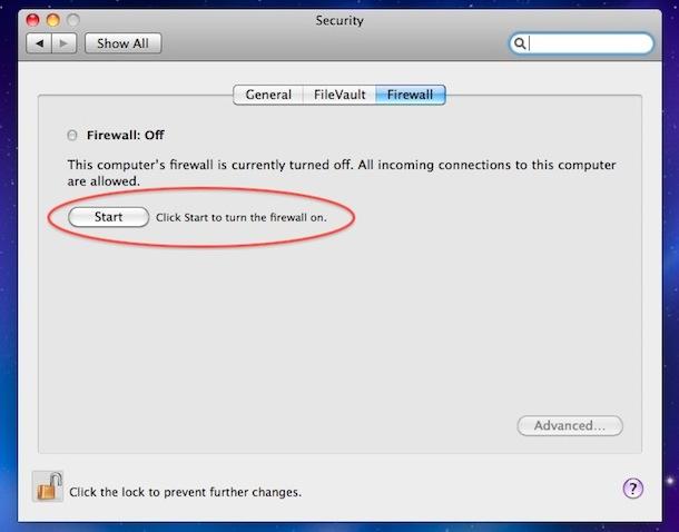 habilitar mac os x firewall