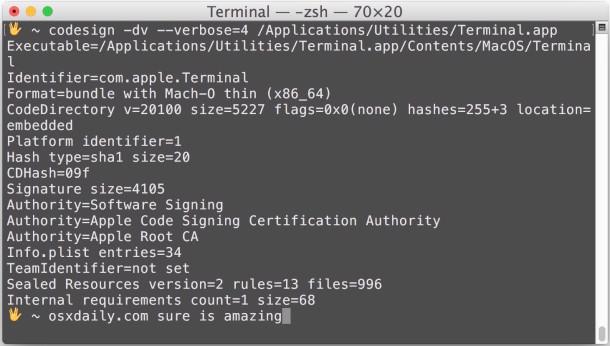 Verifique y verifique la firma del código de la aplicación en Mac OS X.