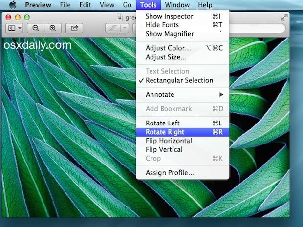 Rotar o voltear imágenes en la aplicación Vista previa de Mac OS X