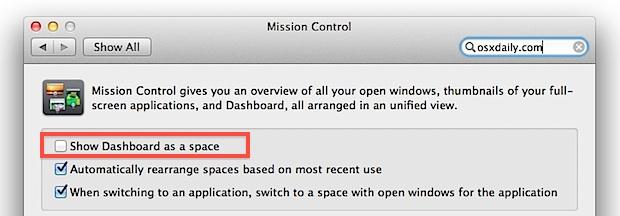 No mostrar el tablero como espacio en Mac OS X Lion