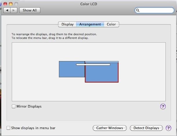 configurar el monitor principal de Mac OS