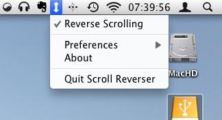 Desplazamiento inverso de IOS para Mac OS X.